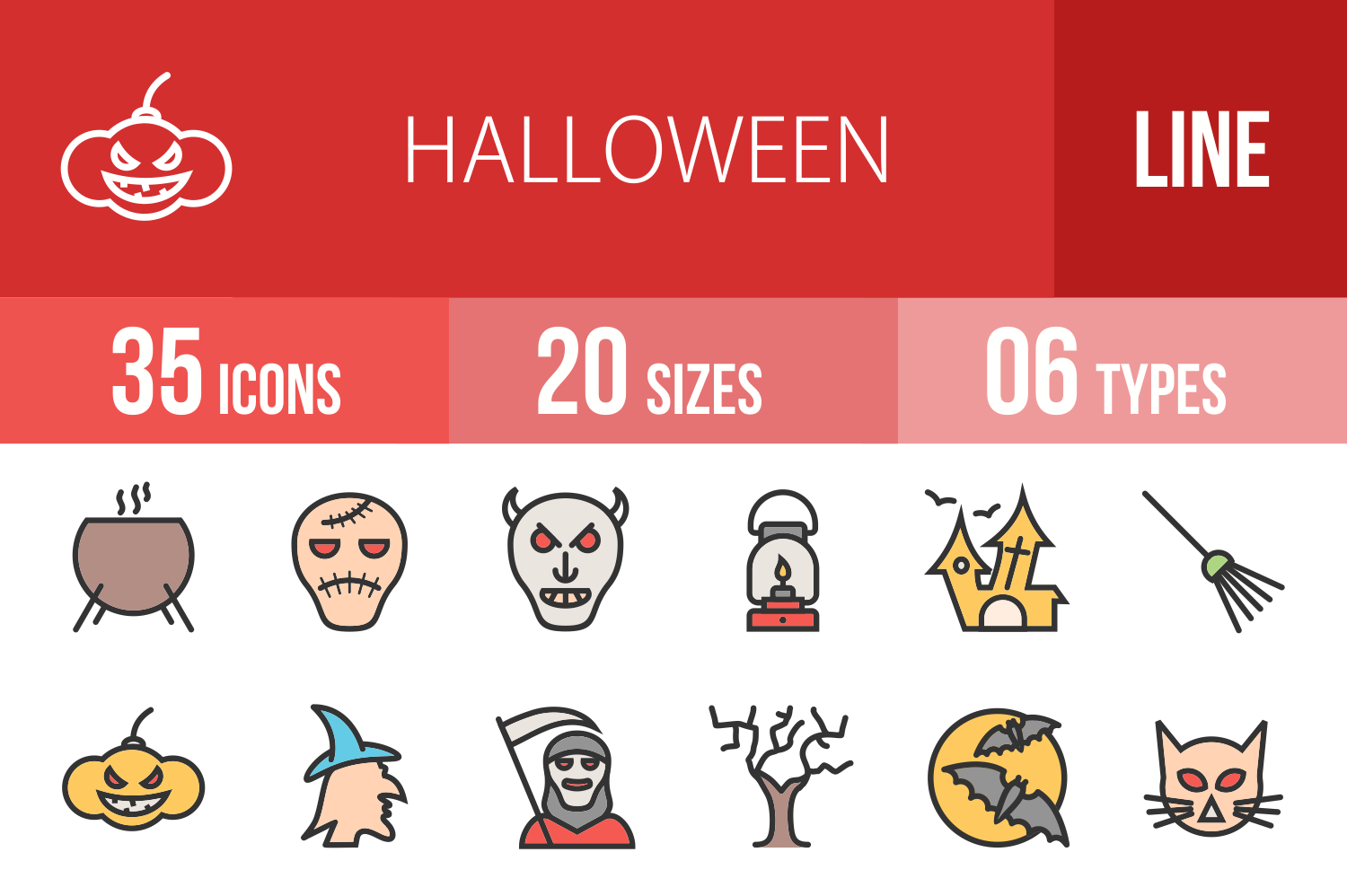 35 Halloween Linear Multicolor Icons example image 1