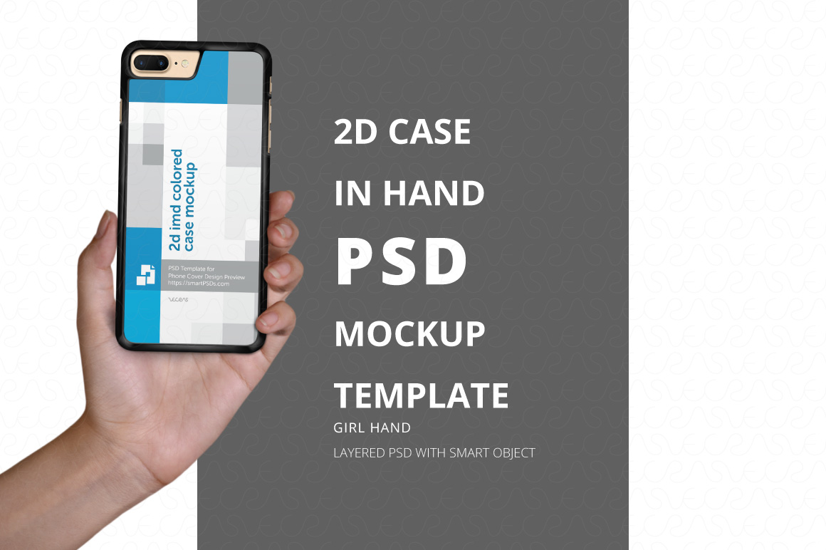 mockup, 2d, phone case, cover, in hand, psd, template, example image 1