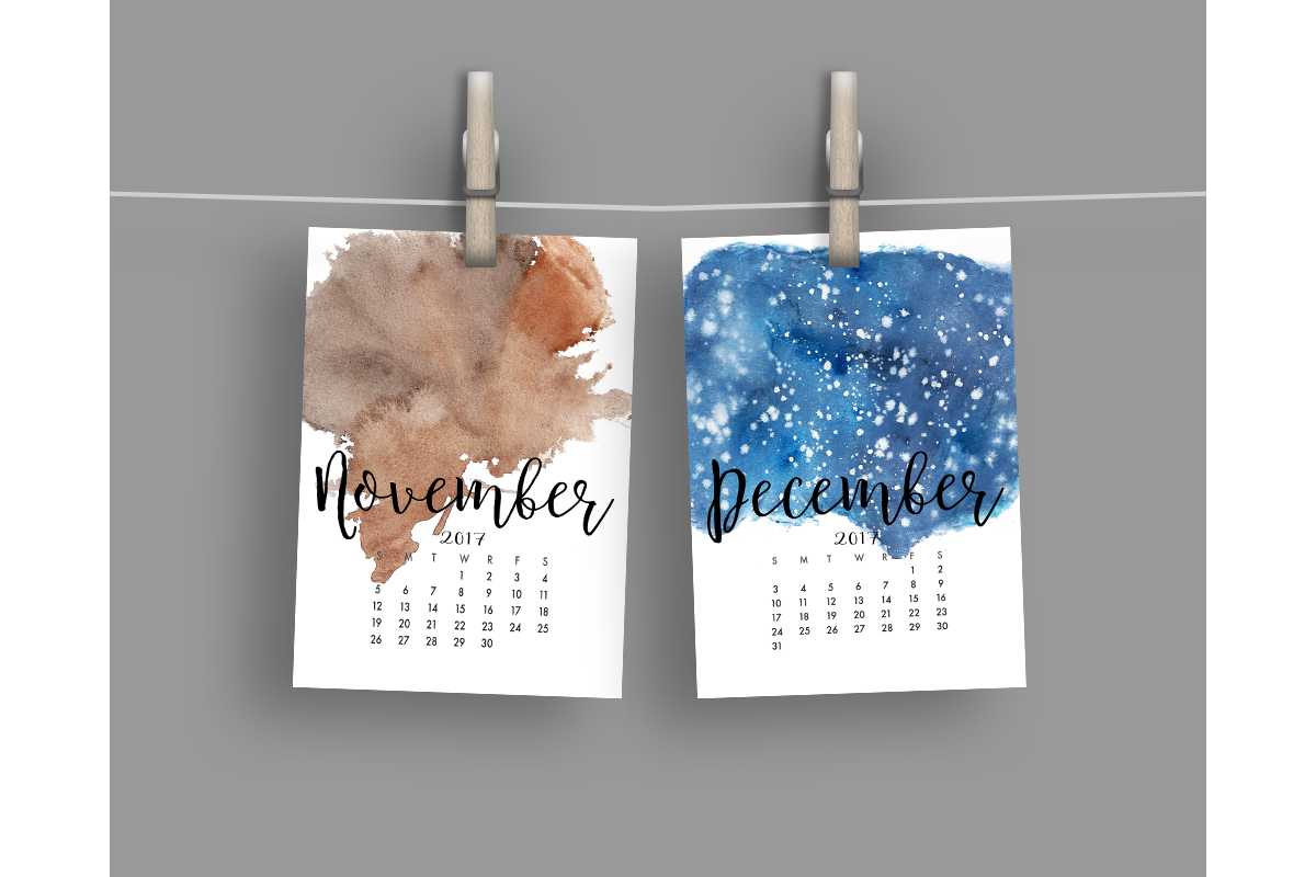 2017 Hand Paint Watercolor Calendar  example image 7
