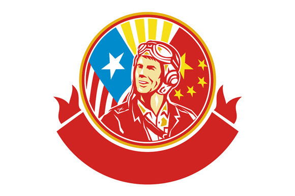 World War 2 Pilot USA China Flag Circle Retro example image 1
