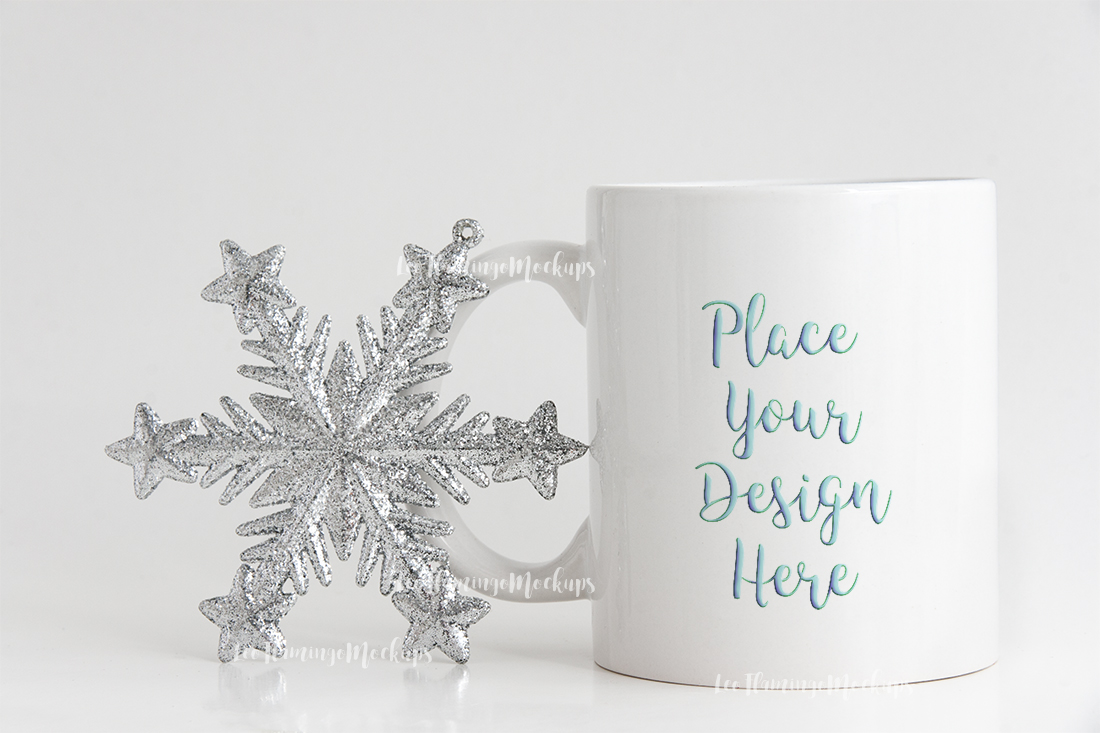 Winter white coffee mug mock up minimal  example image 2