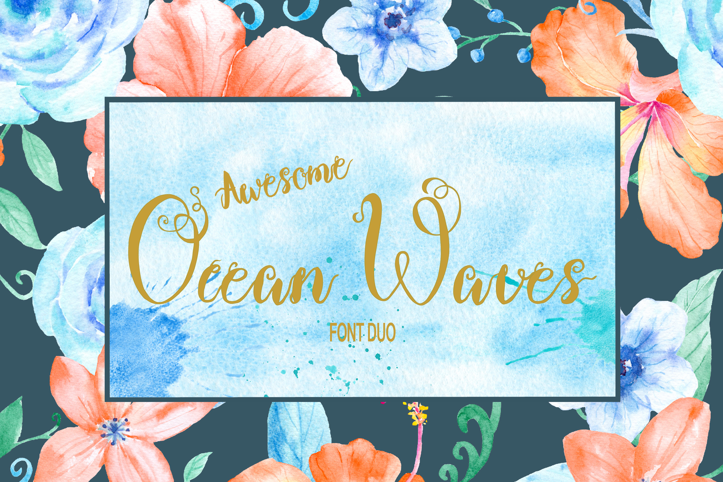 Ocean Waves Font Duo example image 1