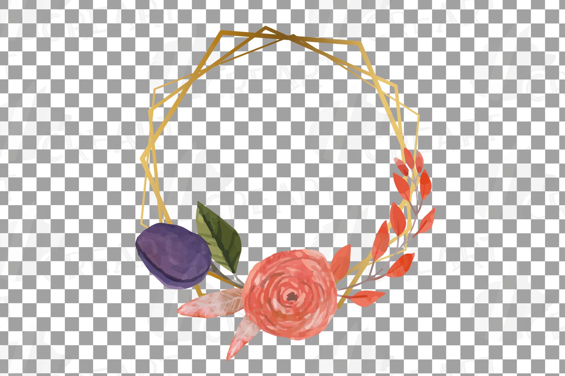 Watercolor elegant autumn geometric golden frame templates. example image 4
