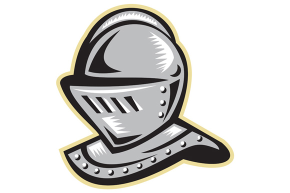 Knight Helmet Woodcut example image 1