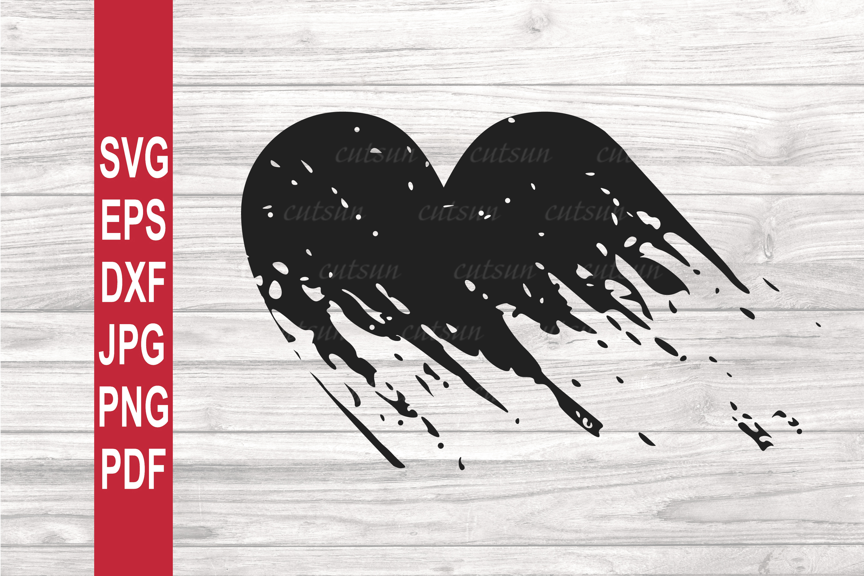 Valentine SVG | Grunge heart SVG | Distressed heart SVG example image 1
