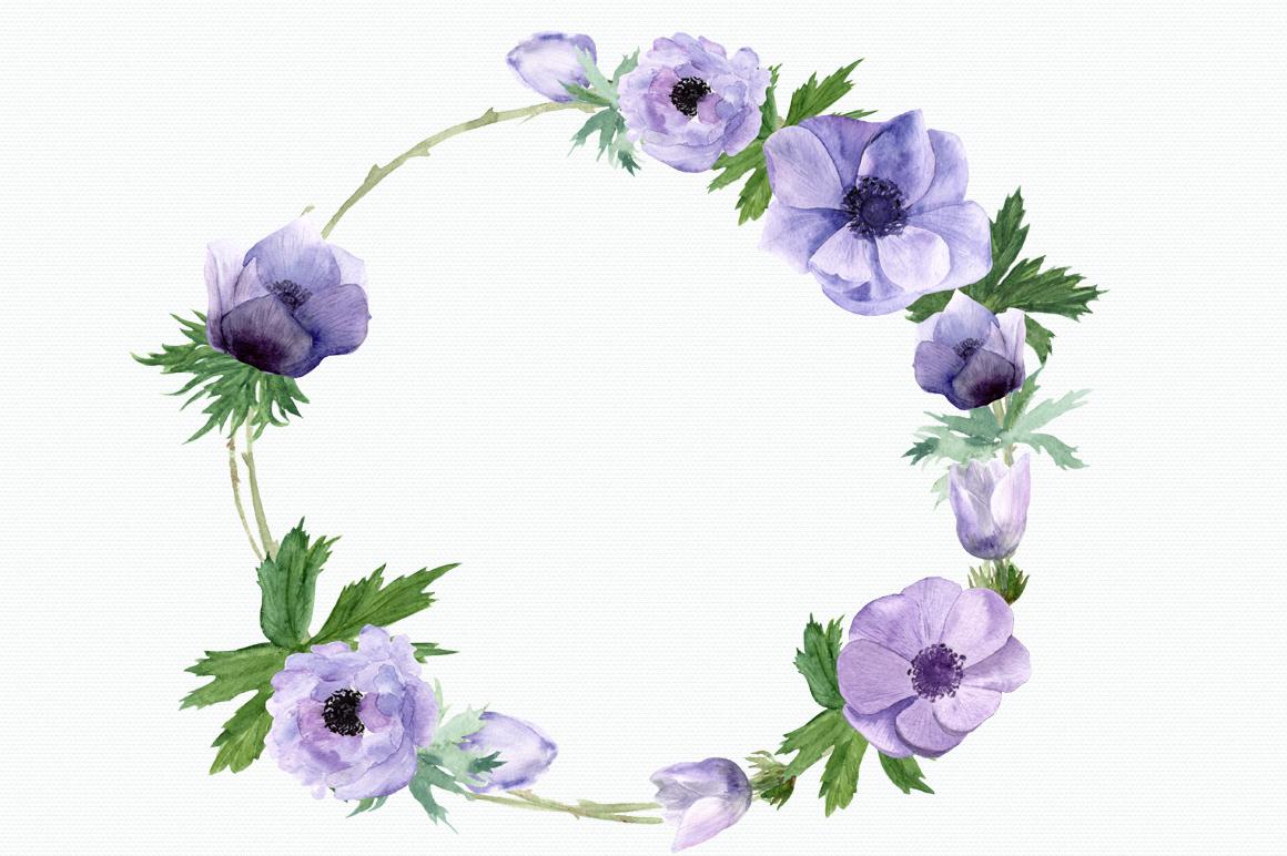 Purple Anemone Watercolor Clip Art Set + Wreath example image 3