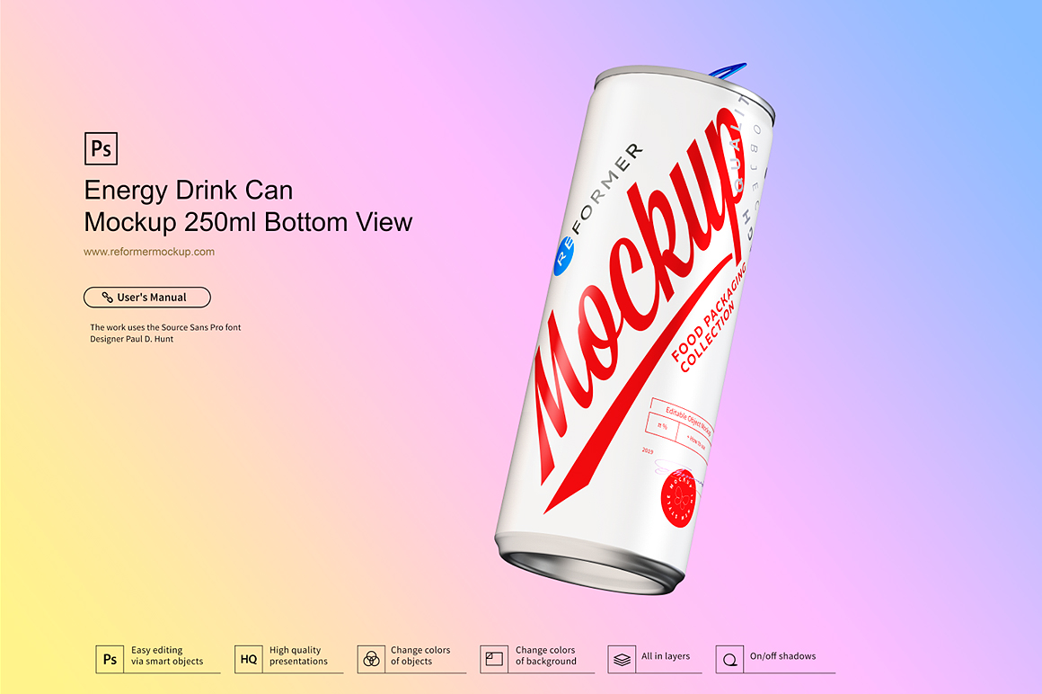 Energy Drink Can Mockup 250ml Bottom View example image 3