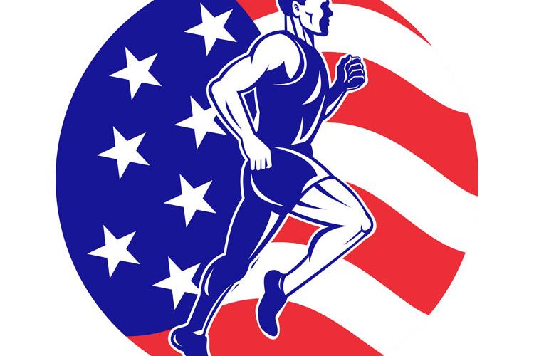 American Marathon runner stars stripes flag example image 1