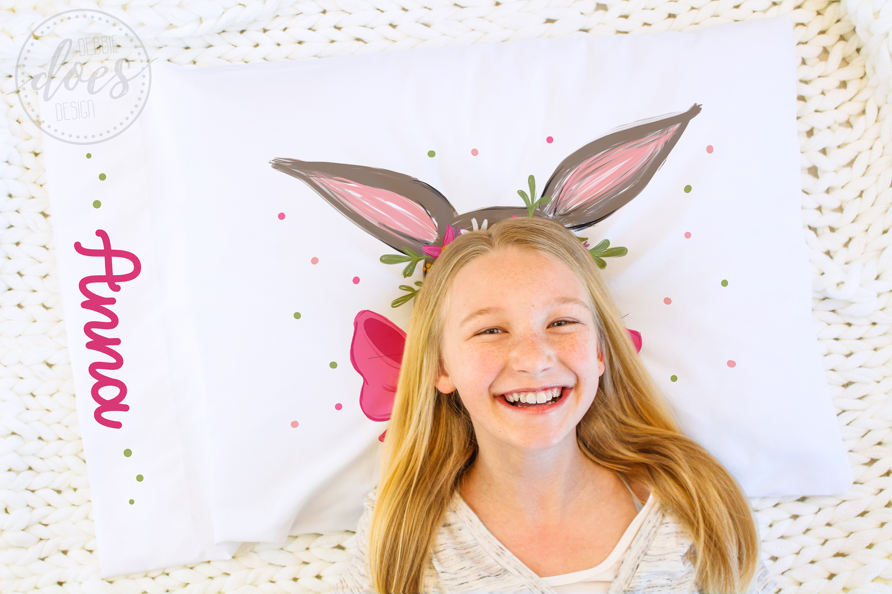 Easter Bunny with Pink Bow and Flowers - Printable Design example image 4