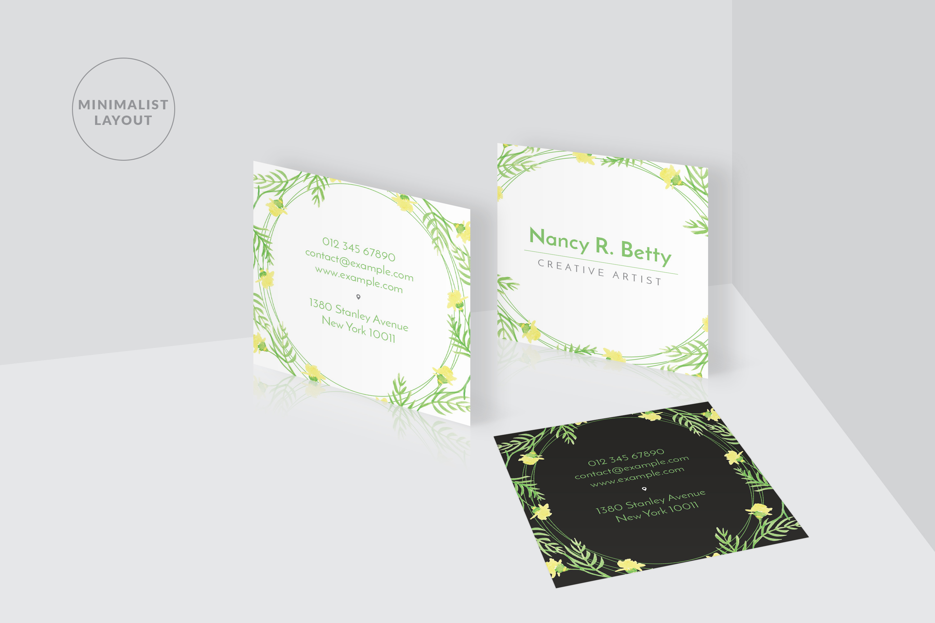 Floral Square Business Card example image 4