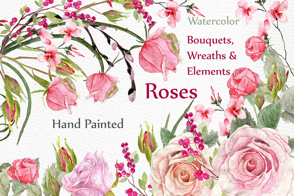 Watercolor roses clip art example image 1