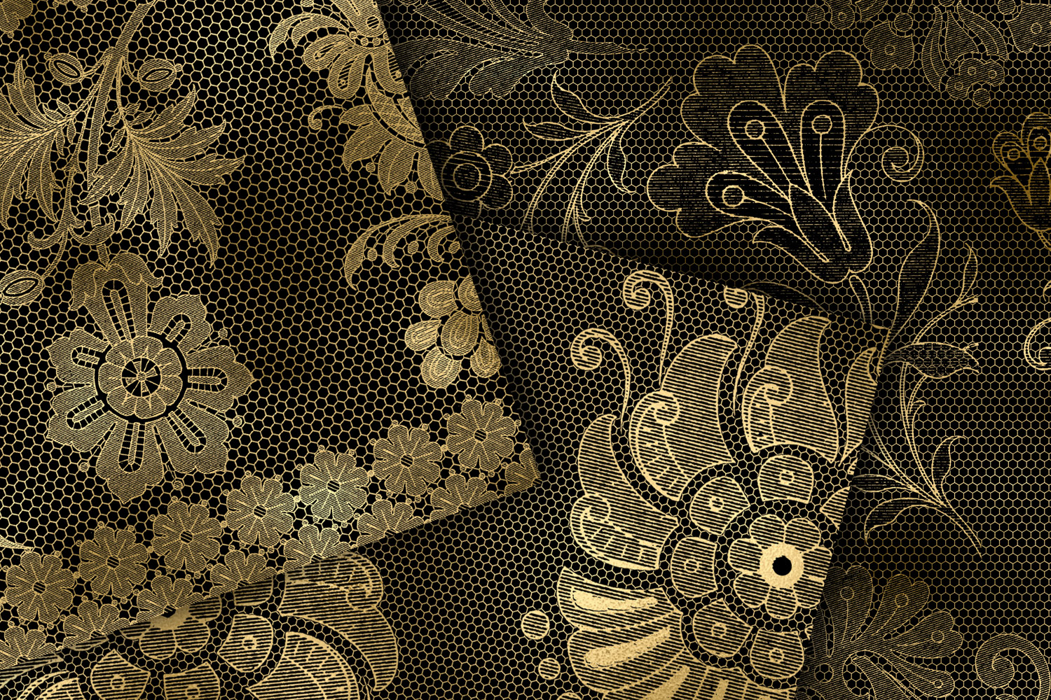 Black and Gold Floral Lace Digital Paper example image 2