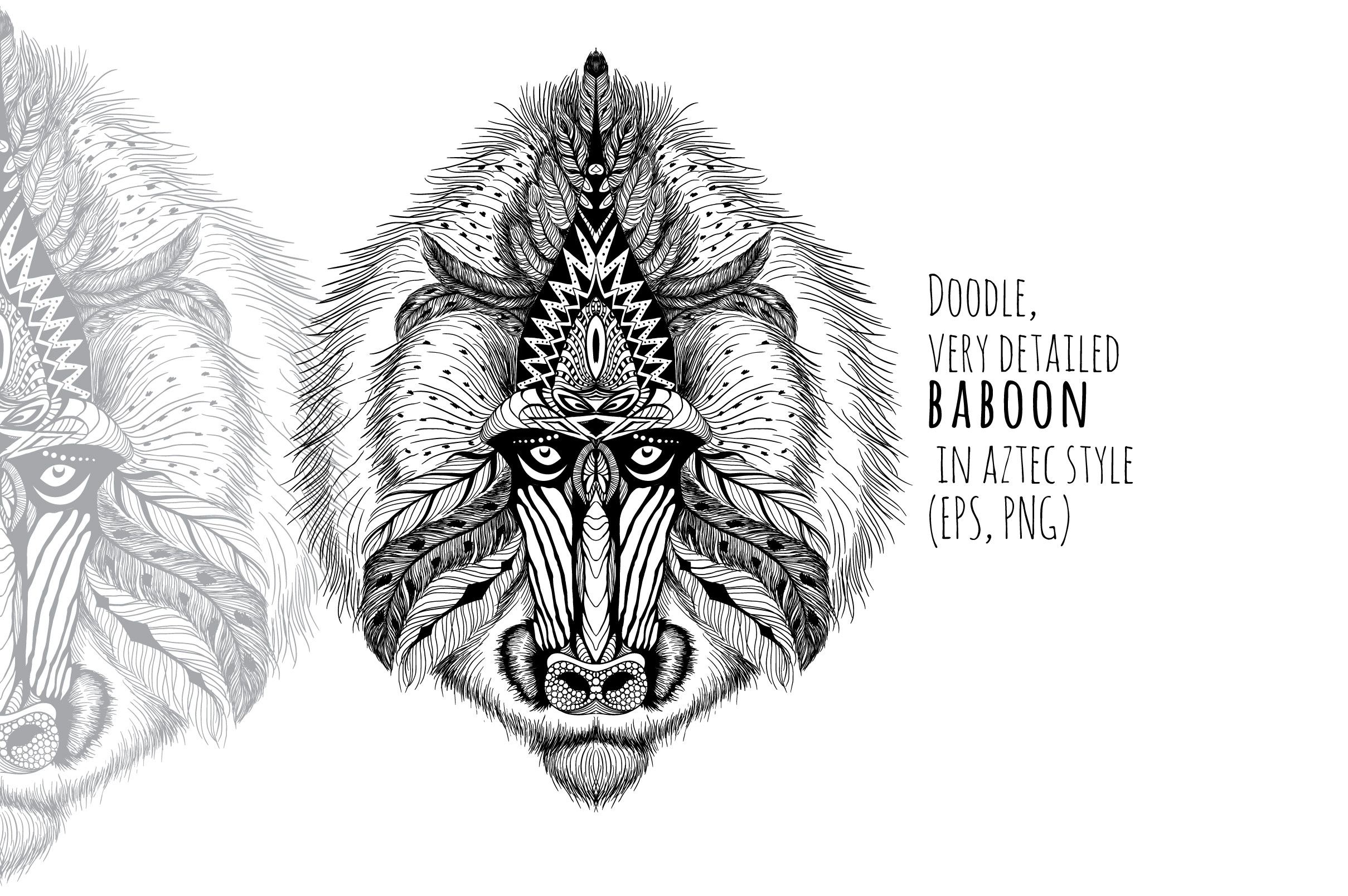 Textured baboon in aztec style example image 1