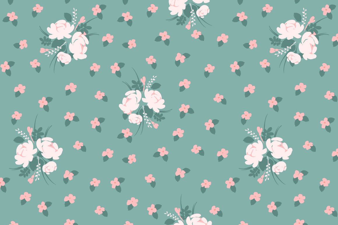 Cute flowers. 10 seamless patterns. example image 8