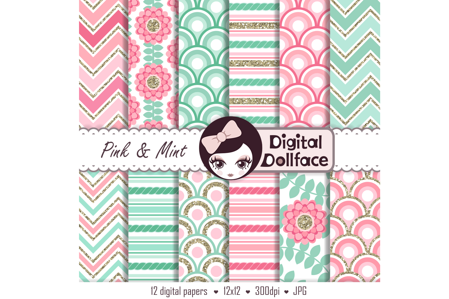 Pink and Mint Patterns example image 2