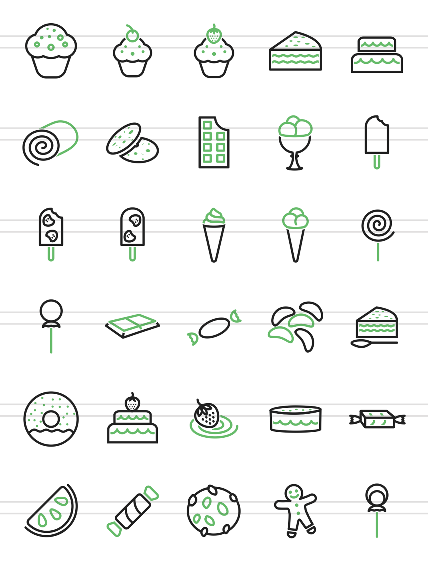 30 Sweets & Confectionery Line Green & Black Icons example image 2