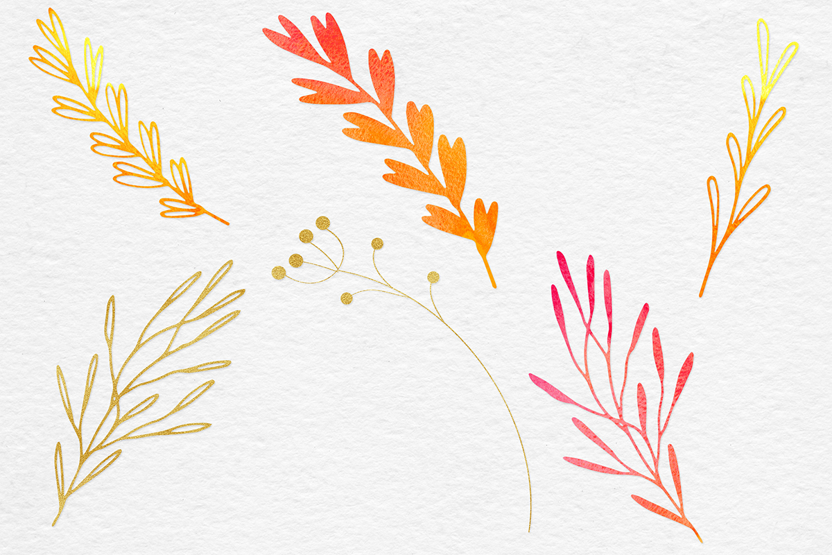 Watercolor & Gold Botanical Clipart example image 6