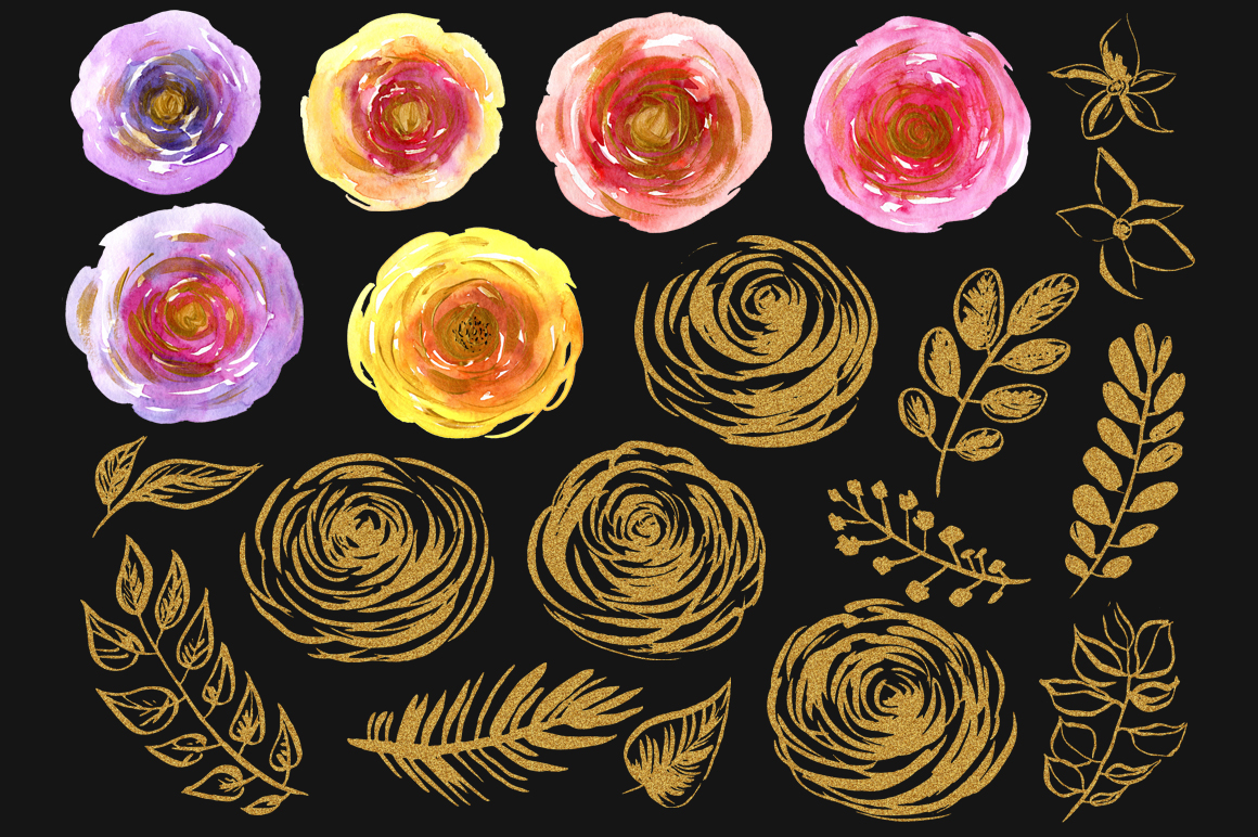 Watercolor & gold flowers, leaves example image 3