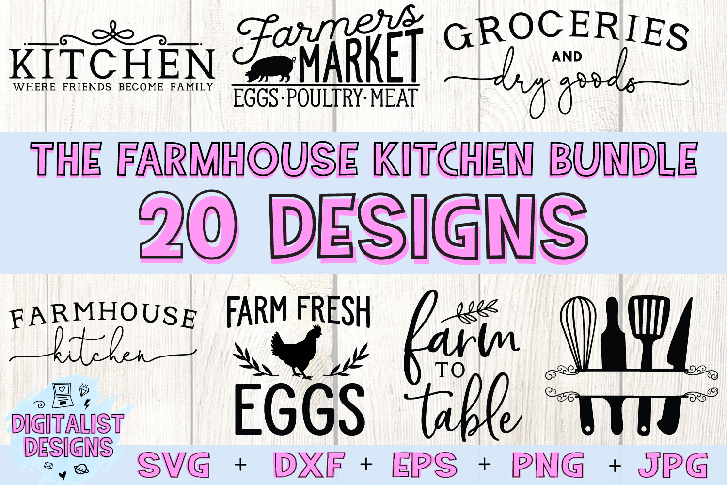 Kitchen Quotes SVG Bundle | 20 Farmhouse Sign SVGs example image 1