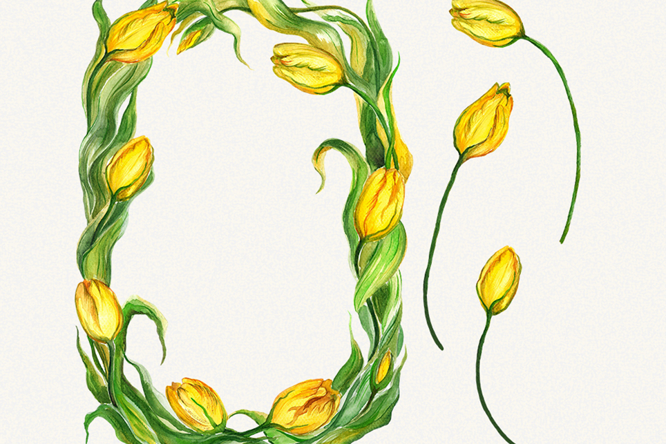 Tulip clipart, flower frame clipart, Watercolor floral example image 2