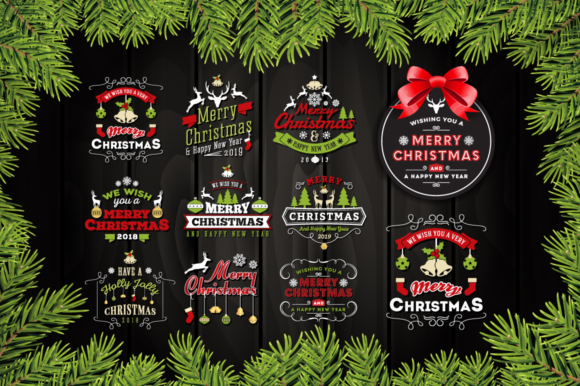 Set of Christmas and New Year Labels/Logo Badges example image 1