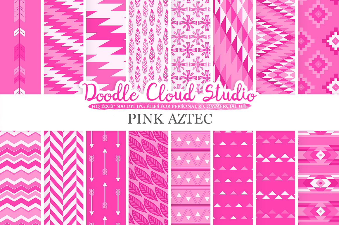 Pink Aztec digital paper Tribal patterns native  triangles geometric ethnic arrows background Instant Download for Personal & Commercial Use example image 1