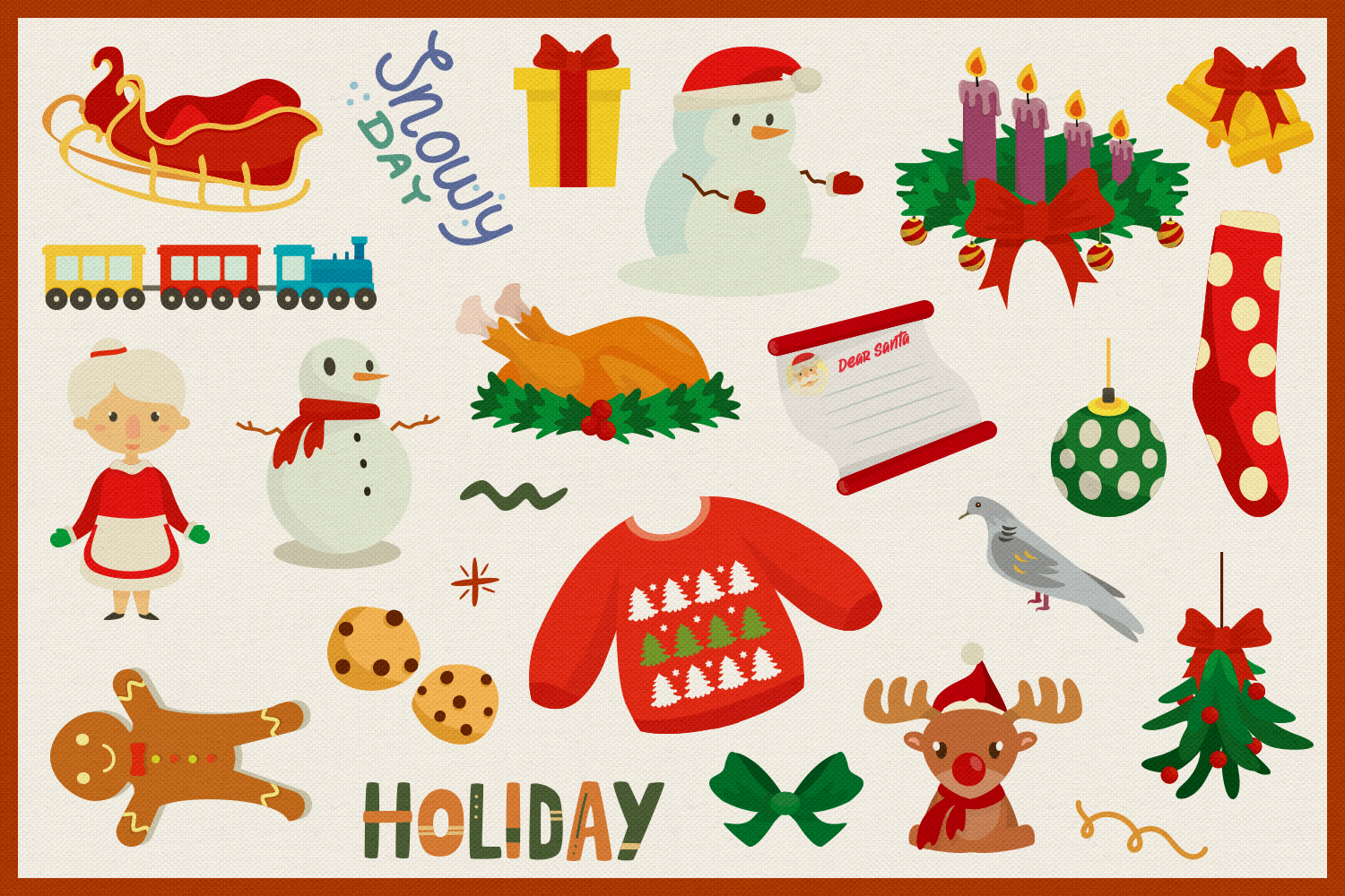 Holy Christmas Vector Clipart and Seamless Pattern example image 2
