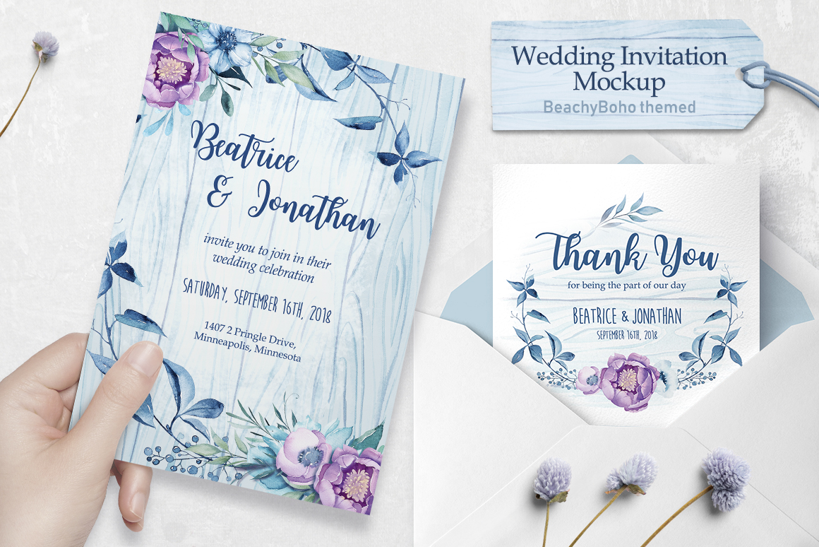Wedding invitation - BeachyBoho example image 1