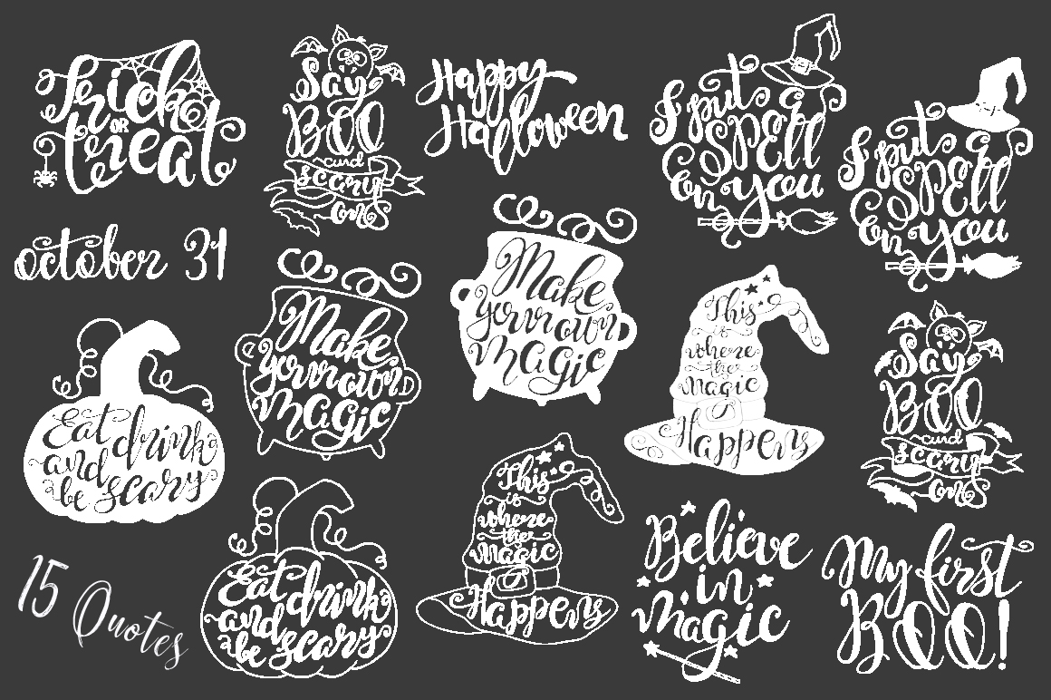 Halloween hand drawn Quotes SVG Cut files example image 6