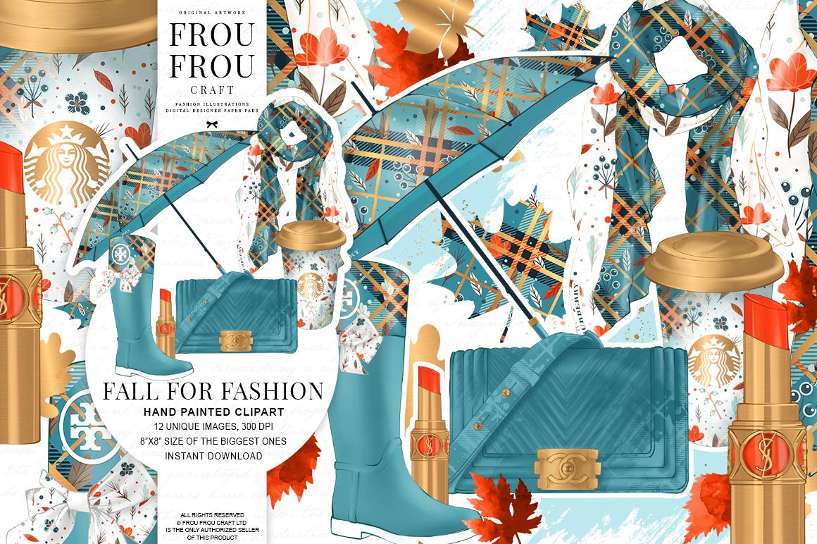 Fall Autumn Leaves Fashion Gold Lipstick Clip Art example image 1