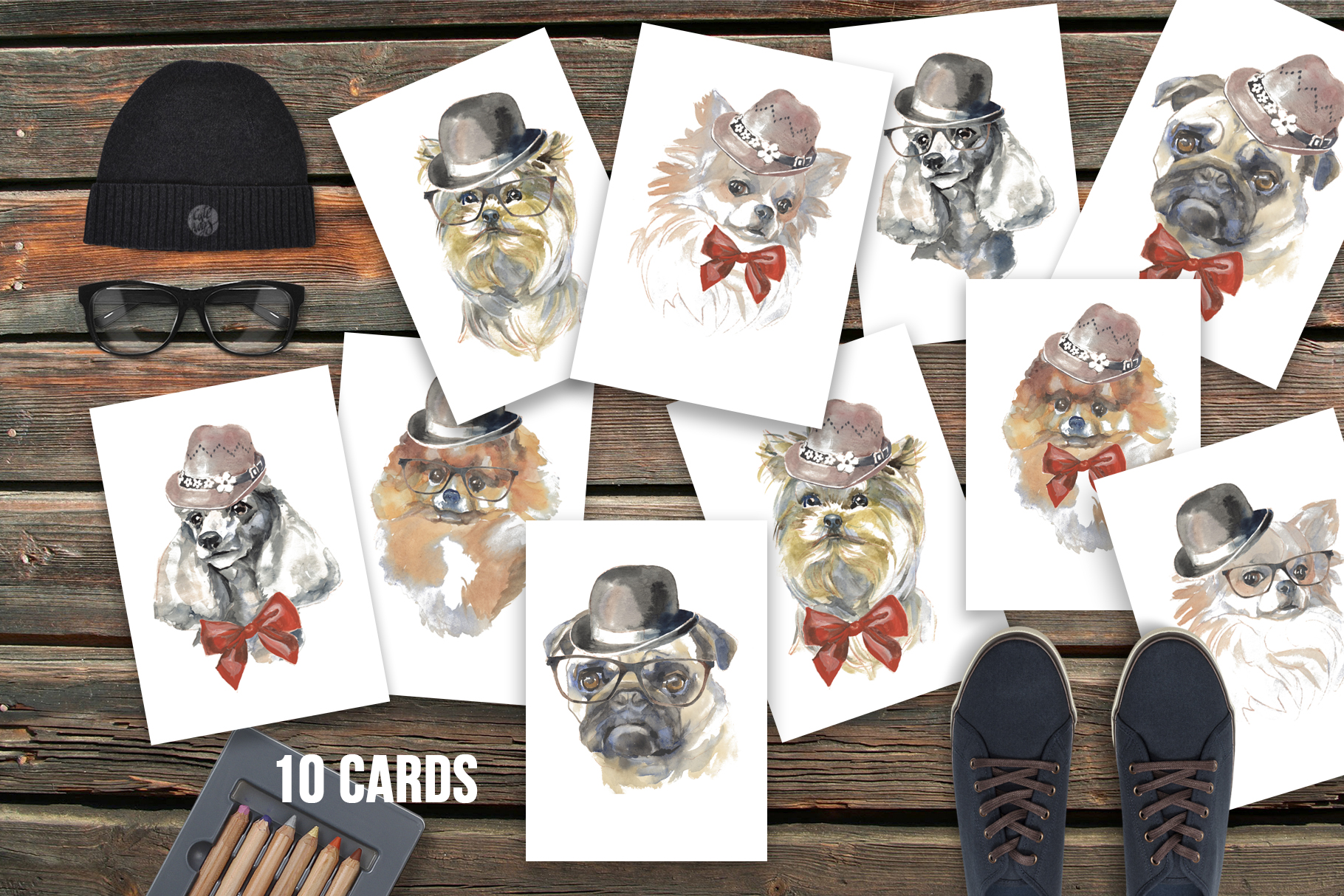 Cute dogs watercolor set example image 2