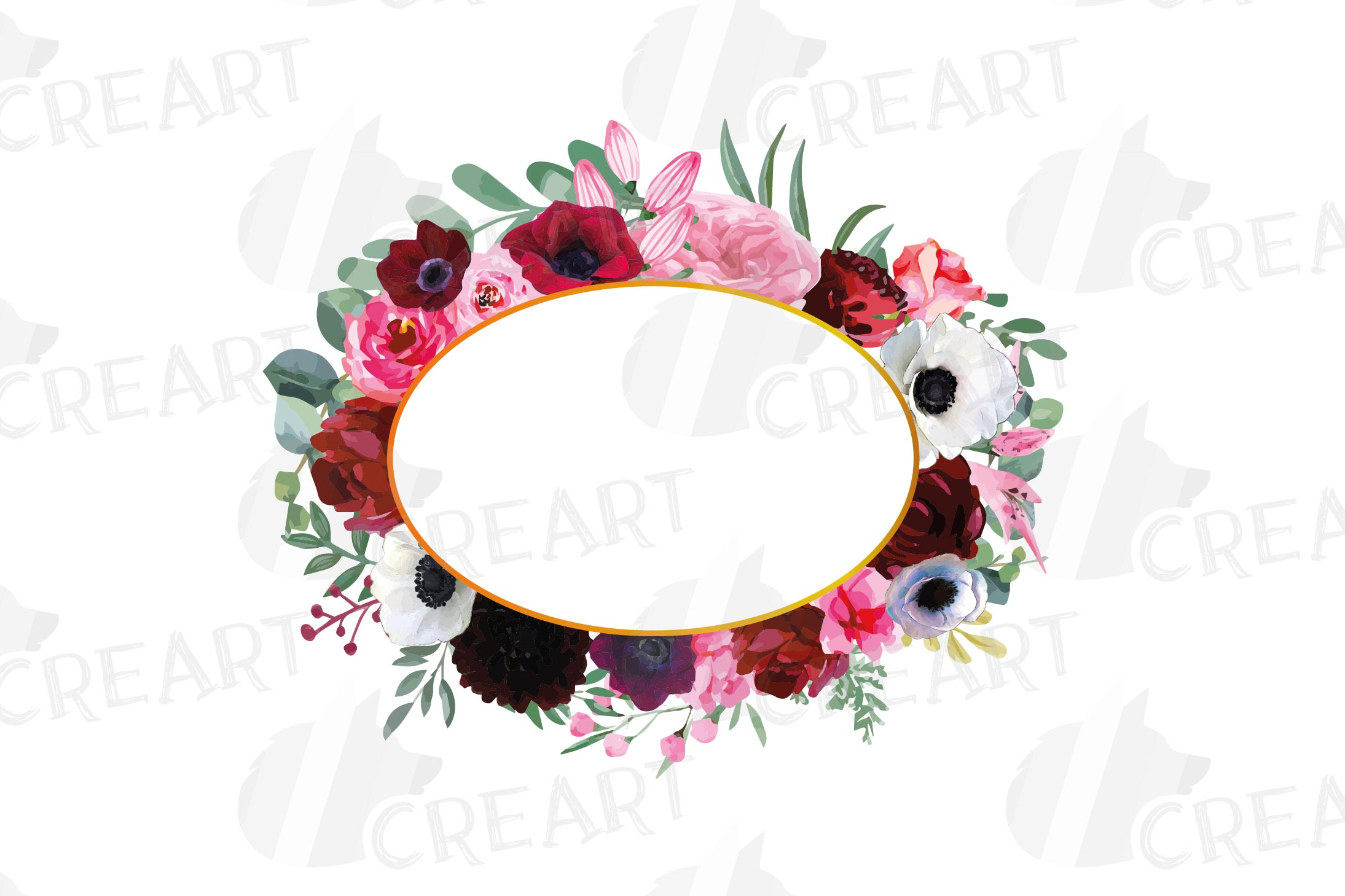 Watercolor elegant floral borders, rose, anemone frames example image 12