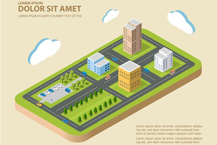 Flat isometric city example image 1