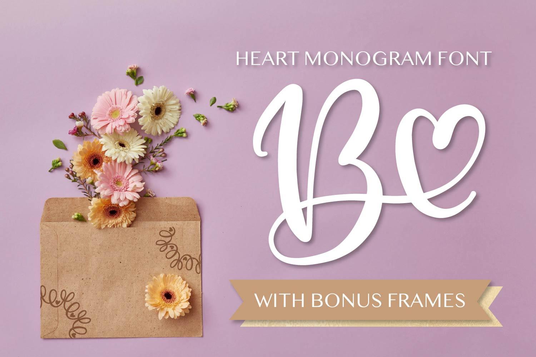 Heart Monogram Font - With Bonus Frame Font! example image 1