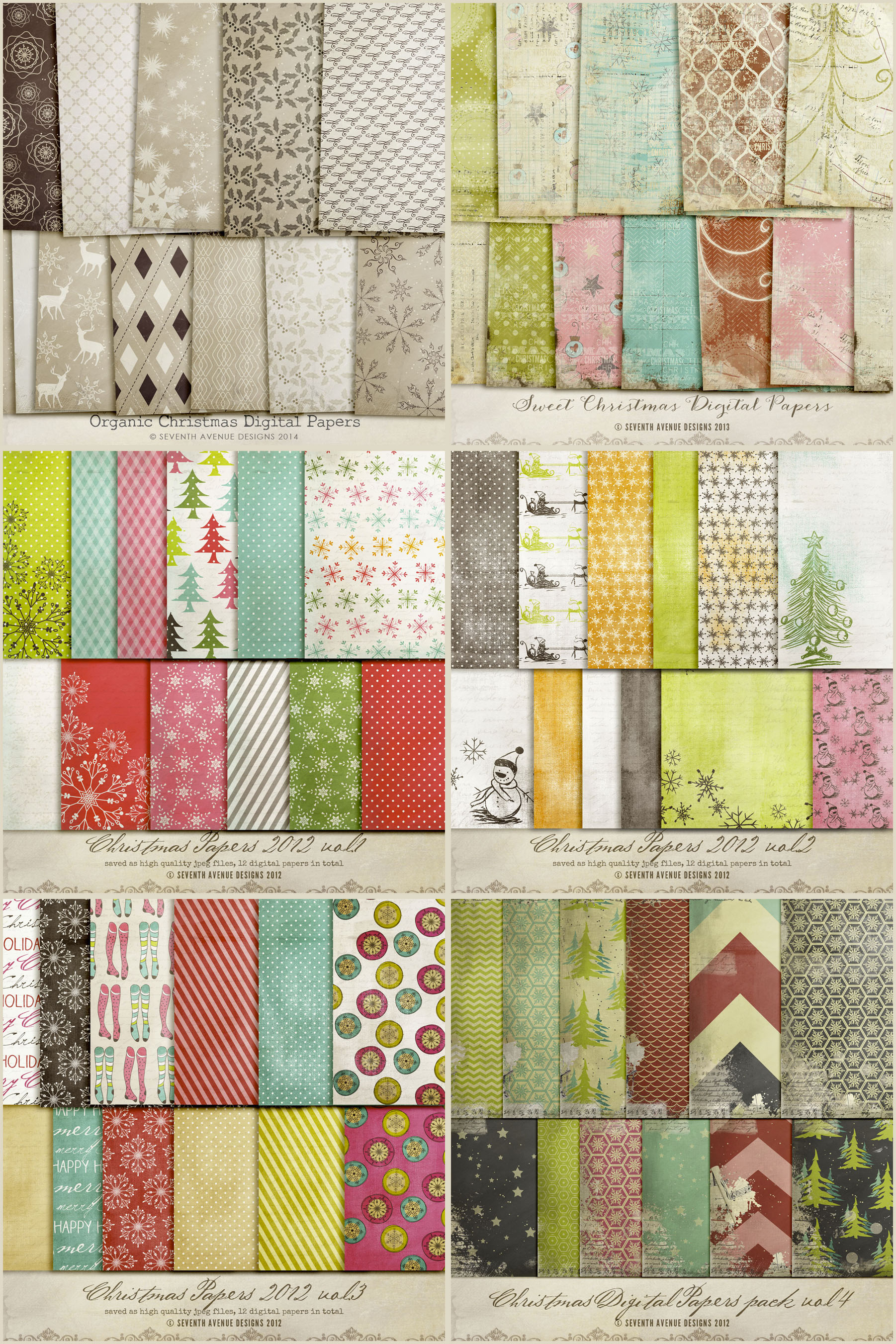 Holiday Digital Papers Bundle example image 5