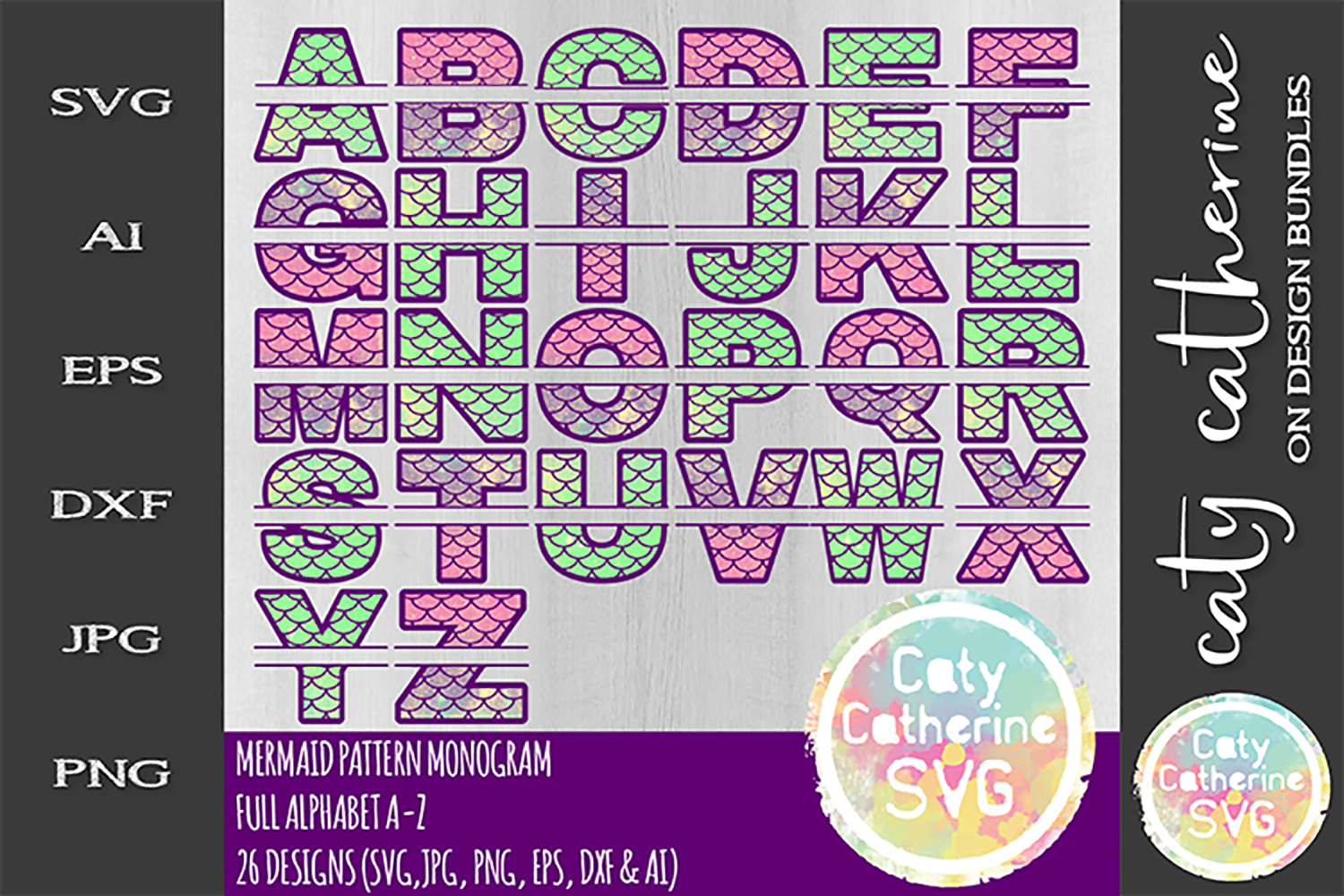 Mermaid Pattern Monogram SVG Full Alphabet A-Z SVG Cut File example image 1
