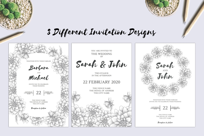 Dahlia Sketch Flower Wedding Invitation Bundle example image 2