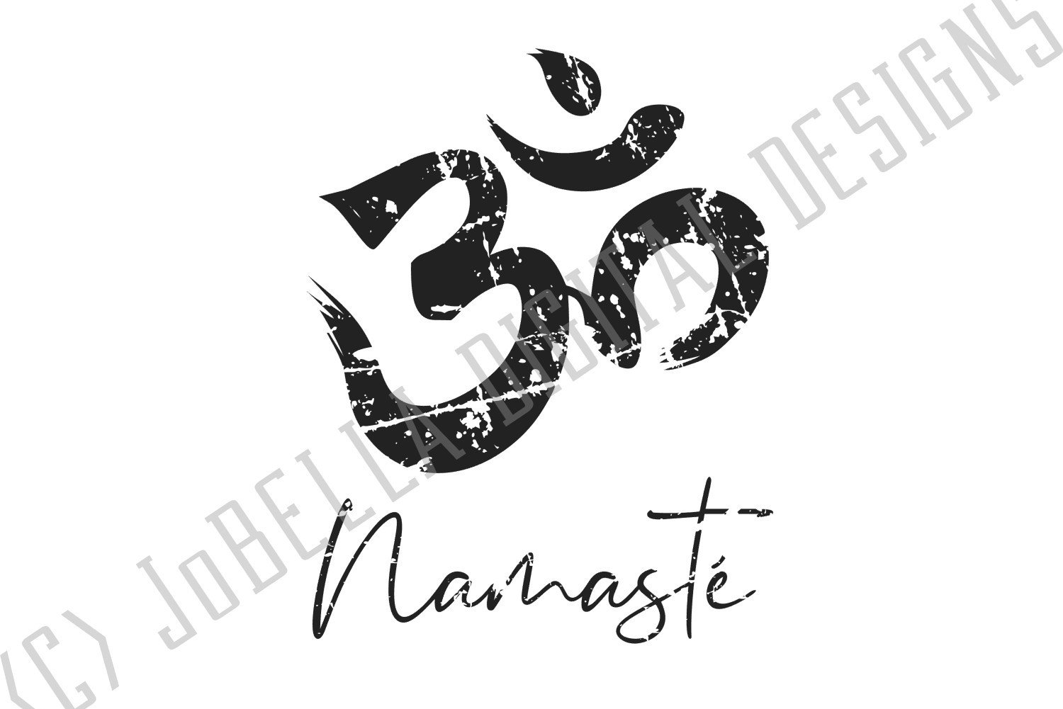 Distressed Om With Namaste SVG and Printable Boho Design example image 3