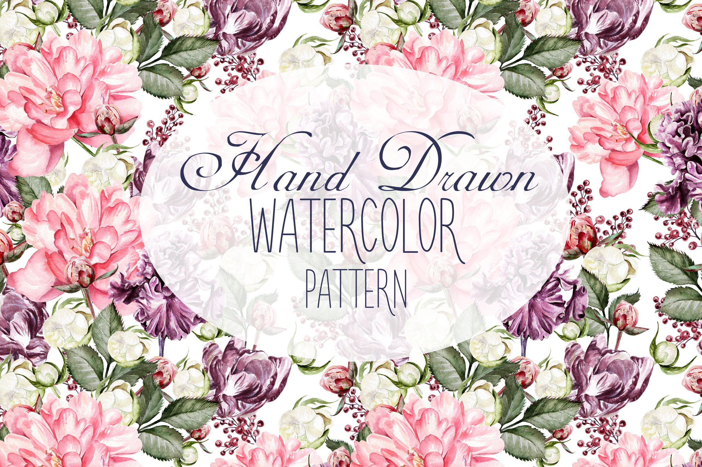 10 Hand Drawn Watercolor Pattern example image 1