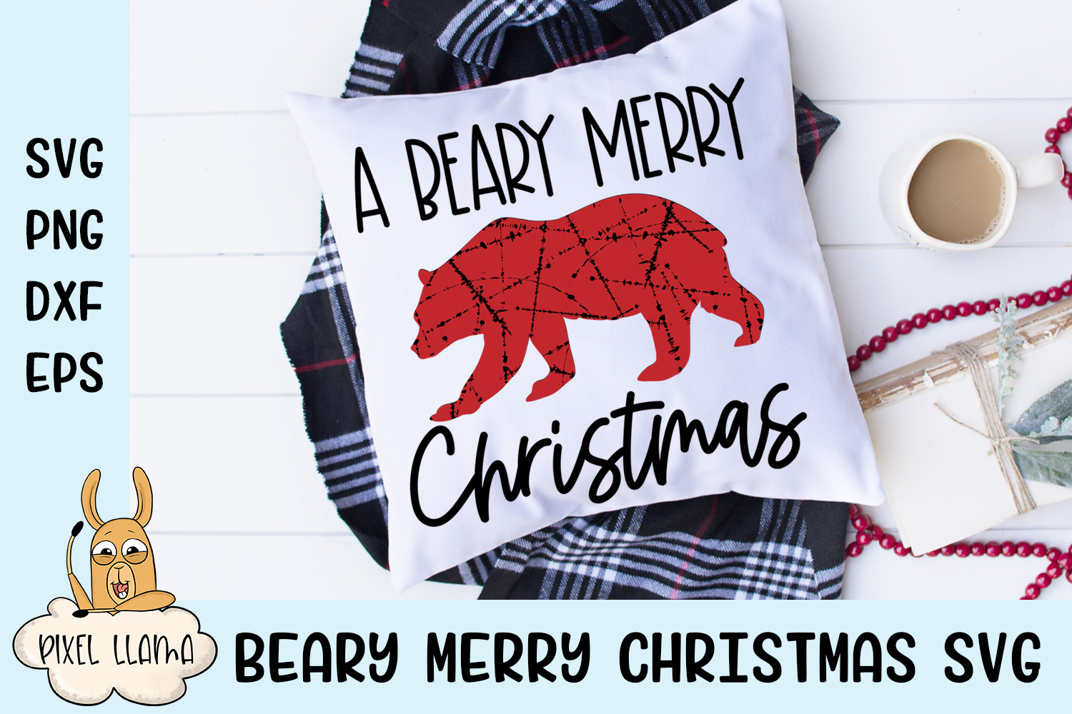 A Beary Merry Christmas Pillow Grunge SVG example image 1