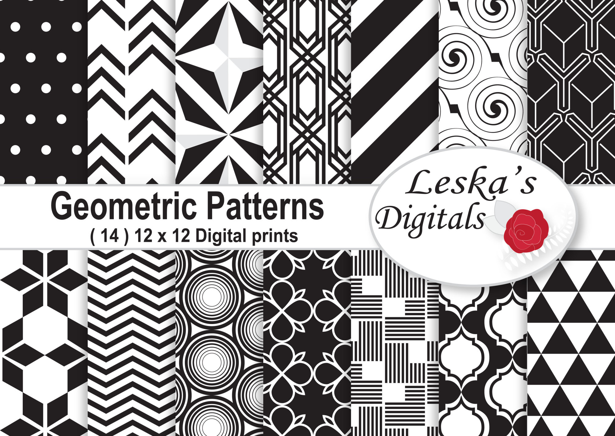 Black and White Digital Paper  example image 1