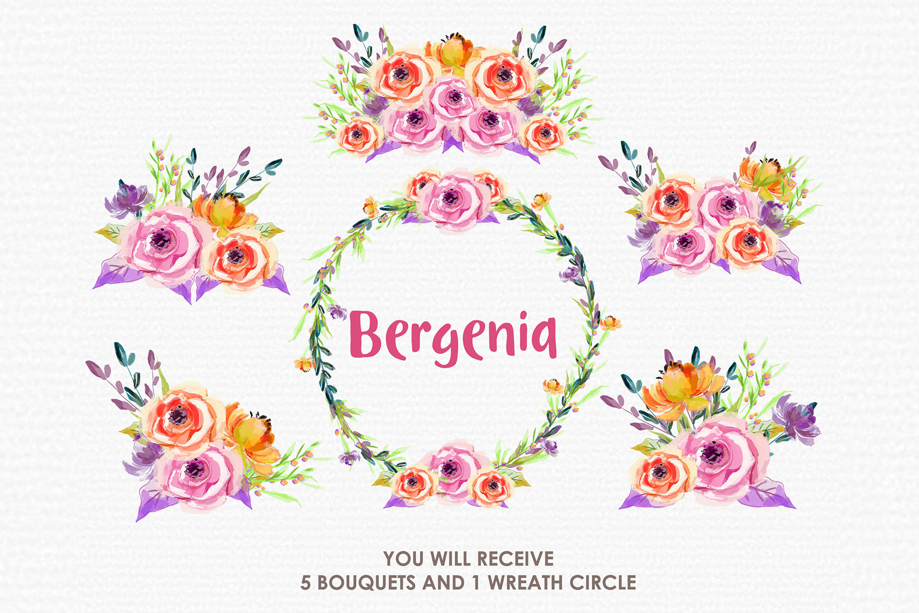 Bergenia - Digital Watercolor Floral Flower Style Clipart example image 3