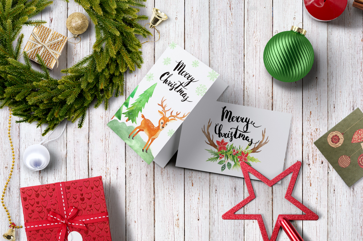 Watercolor Christmas Design Pack example image 7