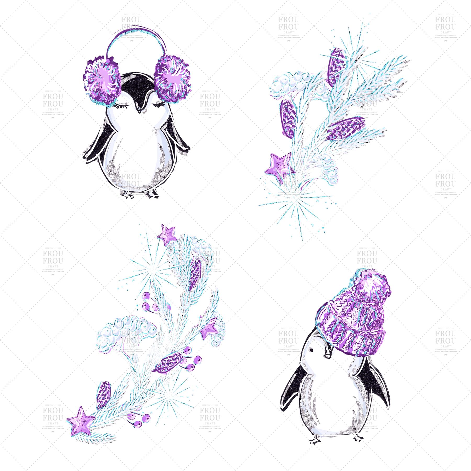 Winter Christmas Tree Penguin Bear Clip Art example image 5