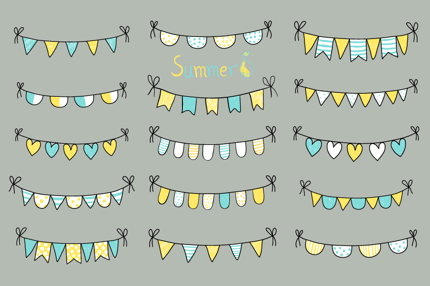 Cute hand drawn summer bunting clip art set, Birthday party bunting example image 4
