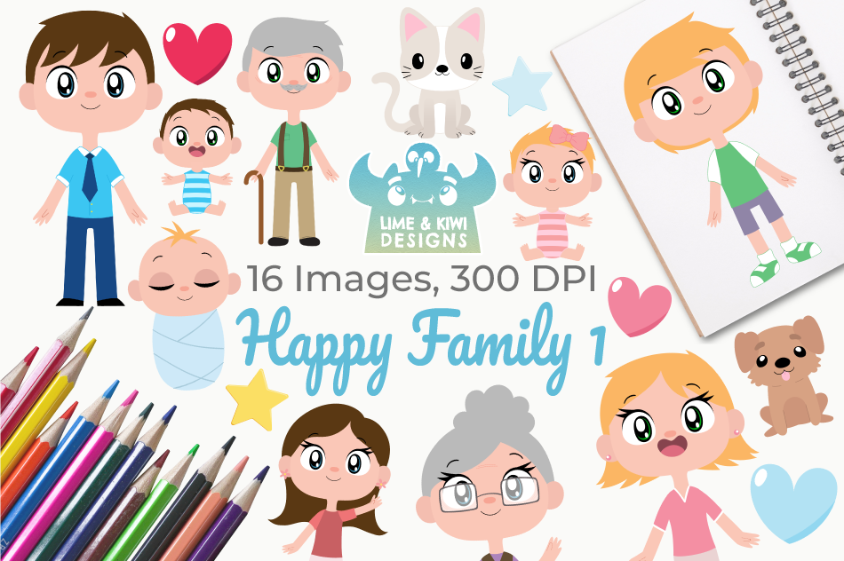 Happy Family 1 Clipart, Instant Download Vector Art example image 1