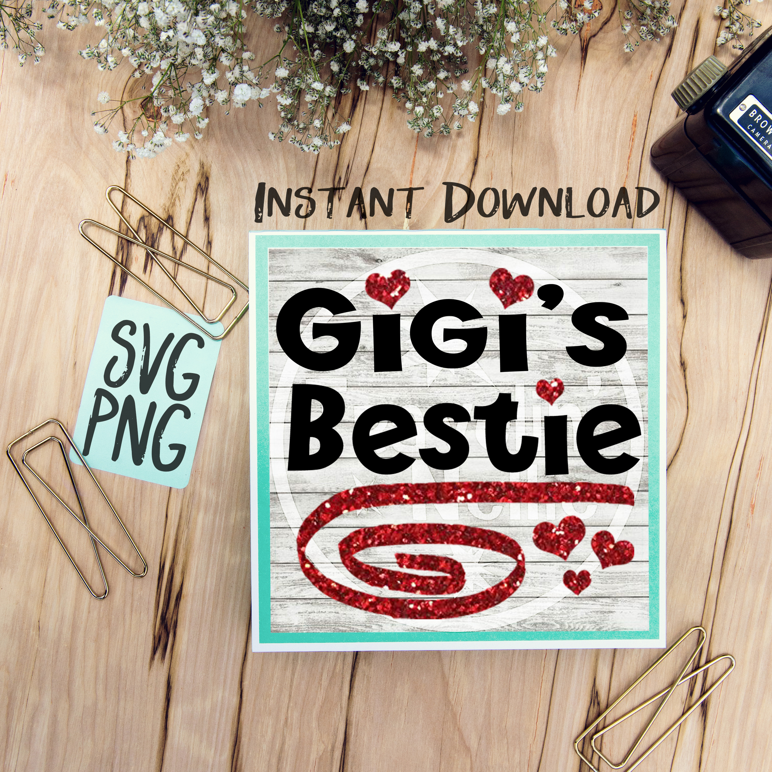 Gigi's Bestie SVG PNG Cricut Cameo Silhouette Brother Scan & Cut Crafters Cutting Files for Vinyl Cutting Sign Making example image 1