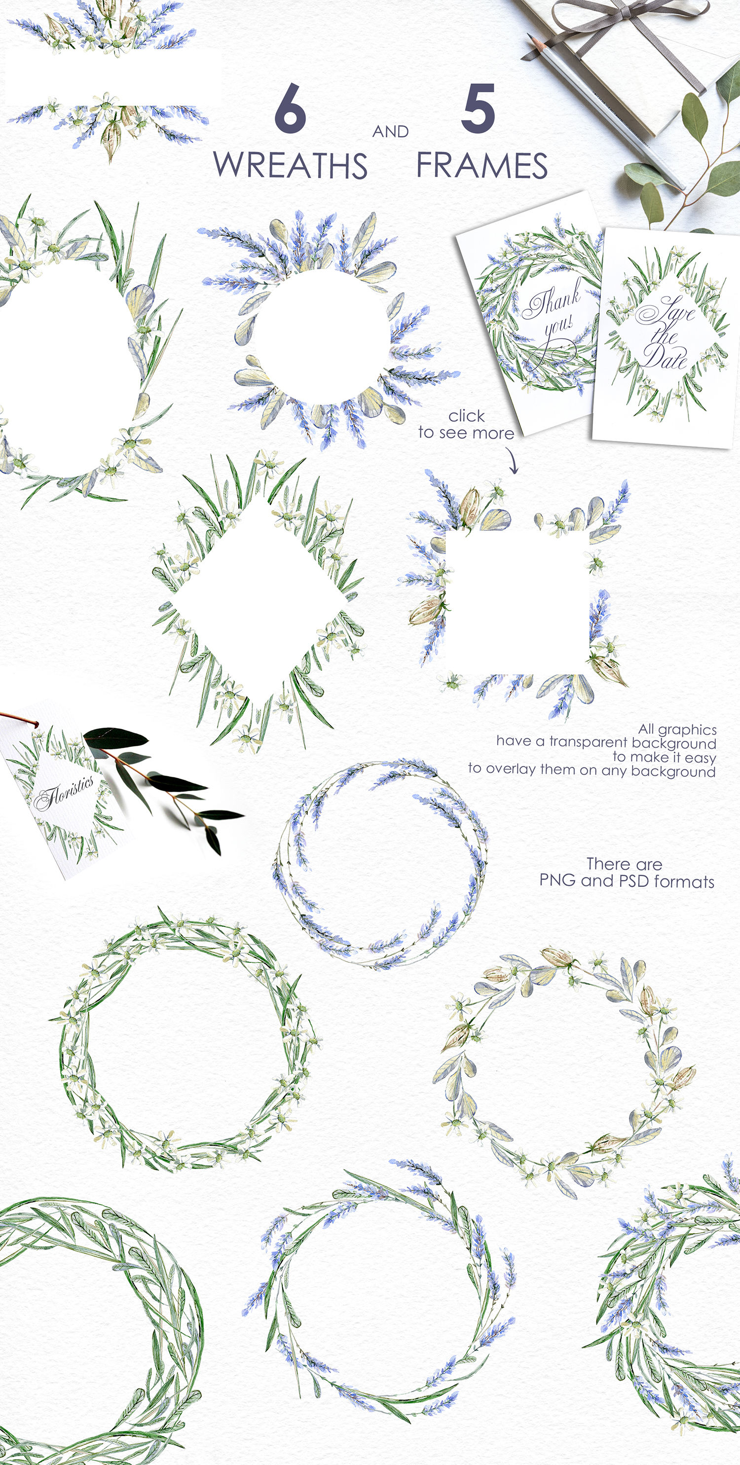 Lavender WATERCOLOR clipart set example image 3