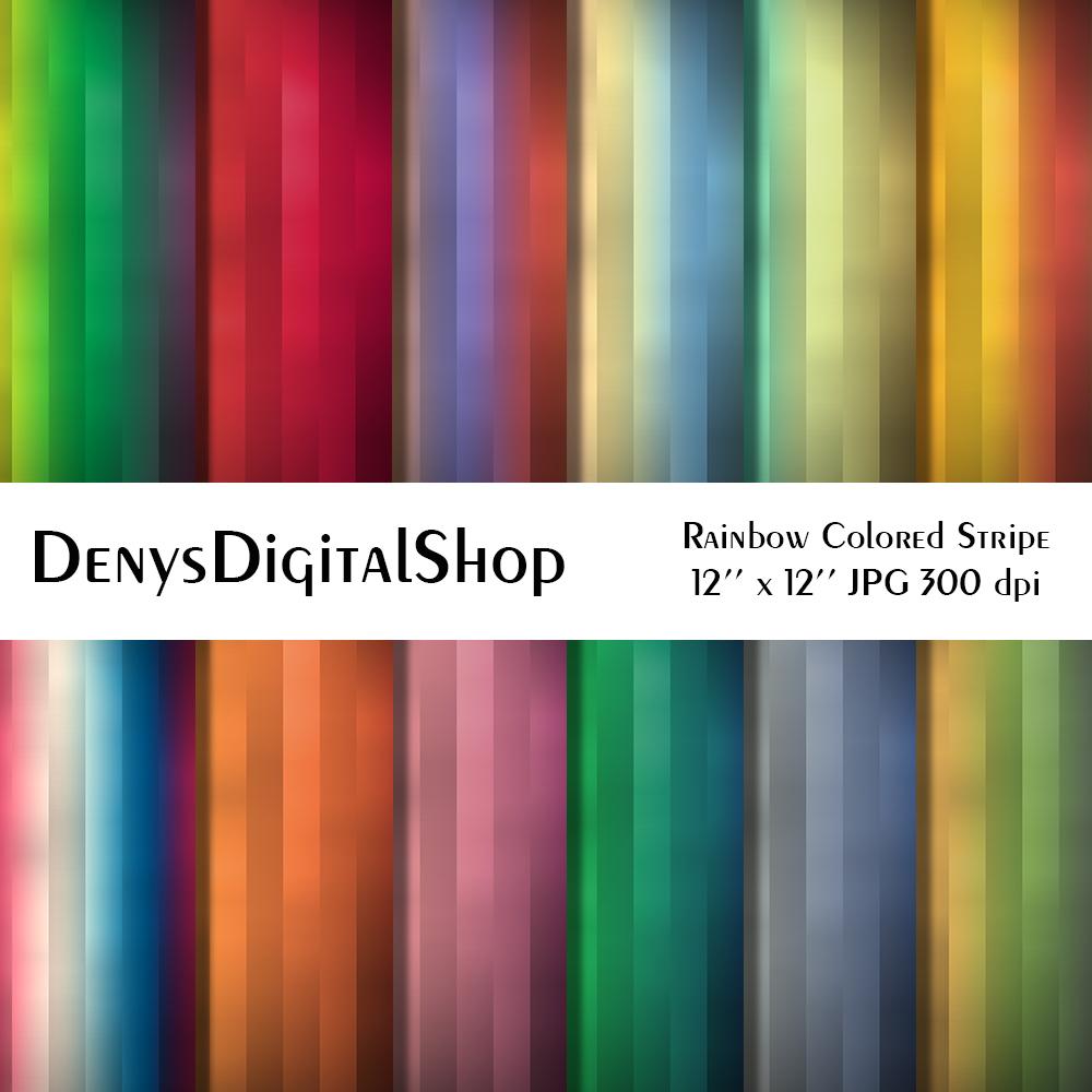 Rainbow Colored Stripe, Digital Scrapbook Paper,BLACK FRIDAY example image 2