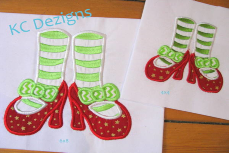 Mrs Clause Feet Machine Applique Embroidery Design example image 1
